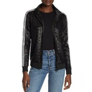 NWT Dolce Cabo Sequin Track Jacket Black/Silver  M